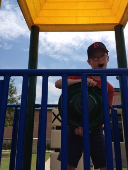 Colin on the play ground at the Thelma Ley Anderson YMCA Day Camp
