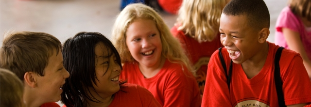 Children laughing together at YMCA Day Camp