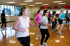 Working up a sweat in a YMCA group exercise class