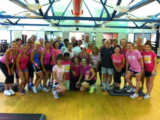 Nancy's Katy YMCA step class waering pink